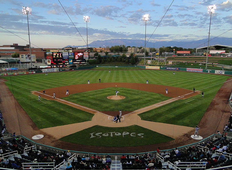 Albuquerque's Isotopes Park with Sandia Mountains backdrop