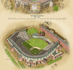 Ballparks of Baltimore illustrated poster