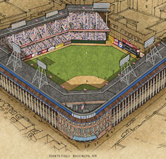 Ebbets Field illustration poster