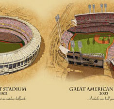 Ballparks of Cincinnati illustrated poster