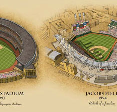 Ballparks of Cleveland illustrated poster