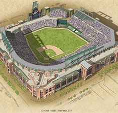 Coors Field illustration poster