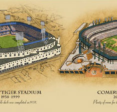 Ballparks of Detroit illustrated poster