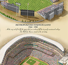 Ballparks of Minnesota illustrated poster