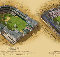 Historic New York ballparks illustrated poster