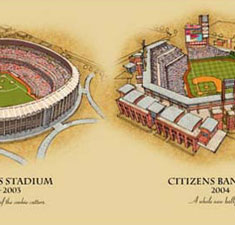 Ballparks of Philadelphia illustrated poster