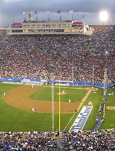 First pitch at Coliseum exhibition game on March 29, 2008