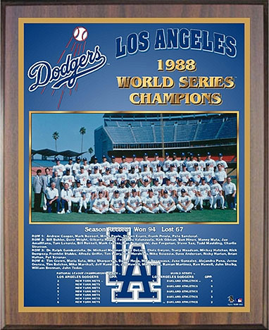 1988 Los Angeles Dodgers World Champions Healy Plaque