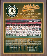 1989 A's World Champions Healy plaque