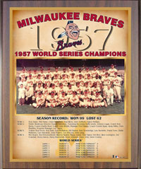 1957 Braves World Champions Healy plaque