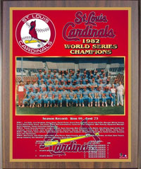 1982 Cardinals World Champions Healy plaque