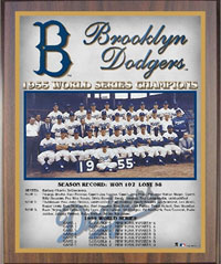 1955 Dodgers World Champions Healy plaque