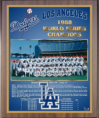 1988 Dodgers World Champions Healy plaque