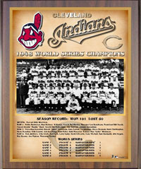 1948 Indians World Champions Healy plaque