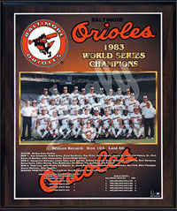 1983 Orioles World Champions Healy plaque