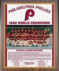 1980 Phillies World Champions Healy plaque