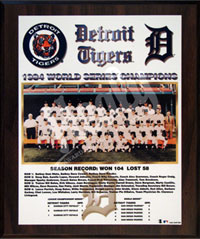 1984 Tigers World Champions Healy plaque