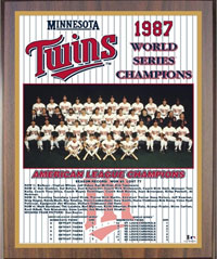 1987 Twins World Champions Healy plaque