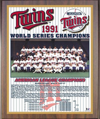 1991 Twins World Champions Healy plaque