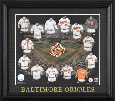 Baltimore Orioles Uniform Evolution Collage
