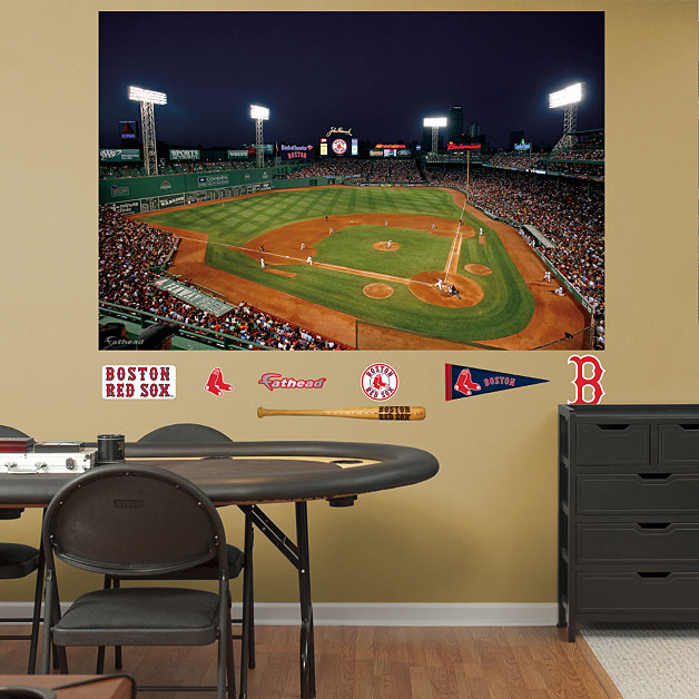 Fenway Park Mural On Wall Red Sox Ballpark And Logos Displayed