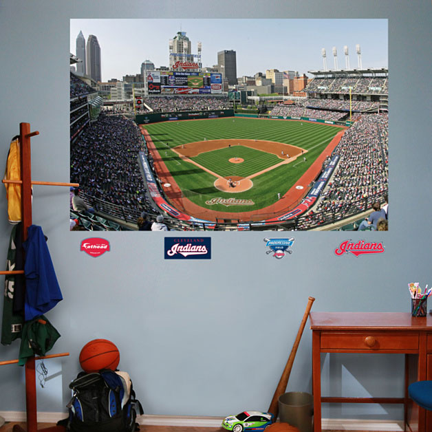 Progressive field mural for Baseball field wall mural