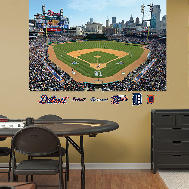 Comerica park mural for Baseball field wall mural