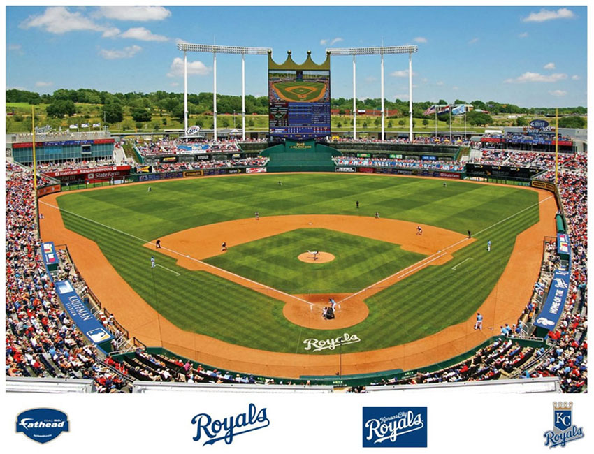 Kauffman stadium mural for Baseball stadium mural wallpaper