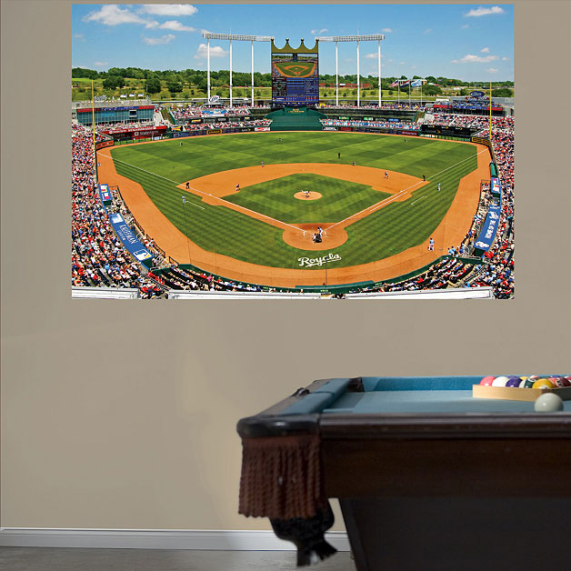 Kauffman stadium mural for Baseball field wall mural