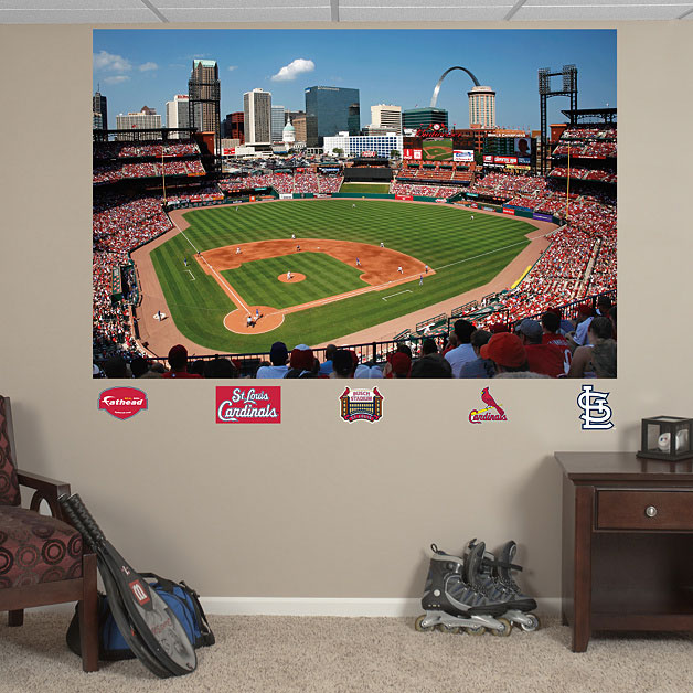 Busch stadium mural for Baseball field wall mural