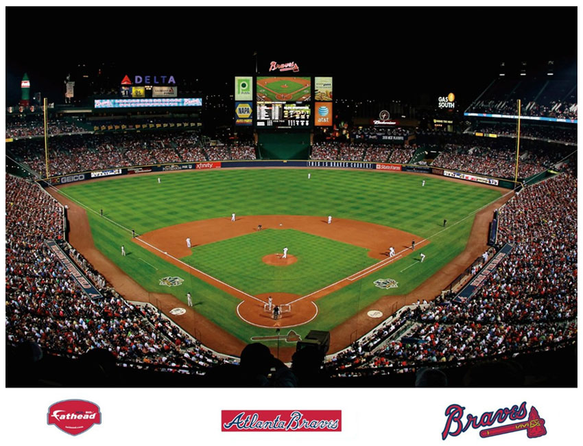 Turner field mural for Baseball field wall mural
