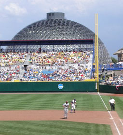 The Desert Dome looms behind Rosenblatt Stadium