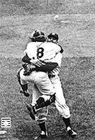 Yogi Berra and Don Larsen celebrate perfect game