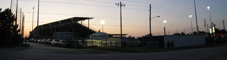 Drillers Stadium at dusk during its final weekend as an active minor league venue