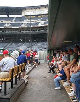 Ballpark tourists at PNC Park get to sit in the Pirates' dugout
