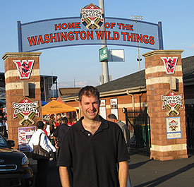 Outside the main gate of the home of the Washington Wild Things