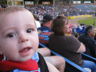 Zachary Knight enjoying his first baseball game