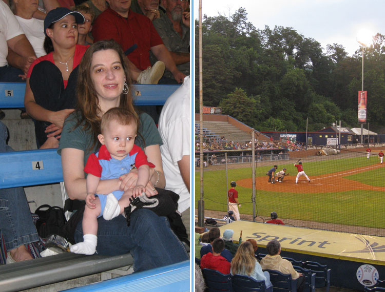 Zachary watching his first game from the comforts of his mother's lap in Asheville