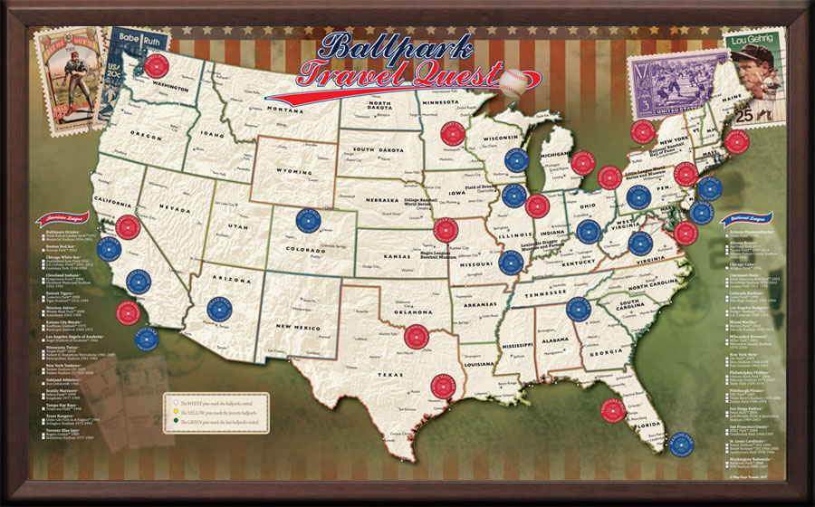 Image Result For Map Of Baseball Stadiums Visited