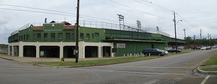 The exterior of Rickwood Field, located in Birmingham's West End neighborhood