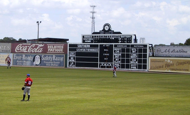 Hand-operated scoreboard at Rickwood Field