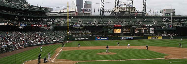 Left field bleachers and Bullpen Market at Safeco Field