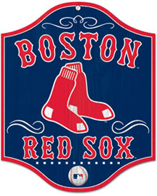 Boston Red Sox wooden logo sign
