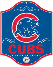 Chicago Cubs wooden logo sign