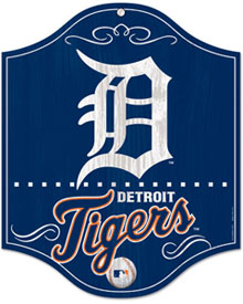 Detroit Tigers wooden logo sign