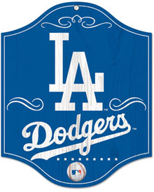 Los Angeles Dodgers wooden logo sign