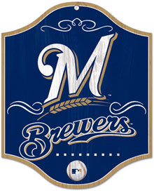 Milwaukee Brewers wooden logo sign
