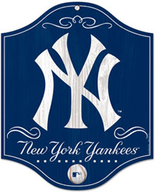 New York Yankees wooden logo sign
