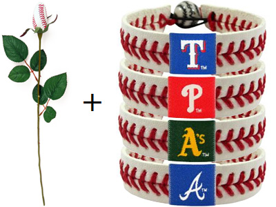 Baseball rose and baseball team logo bracelet