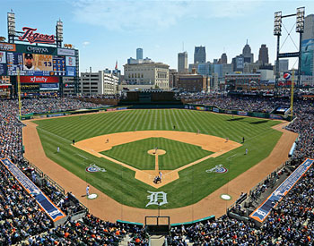 Detroit tigers fan store for Comerica park wall mural